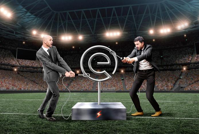 Mark van Bommel en Erik Ten Hag strijden om de titel middels deze bibberspiraal van weleer.