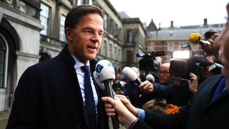Premier Rutte op het Binnenhof. Beeld anp