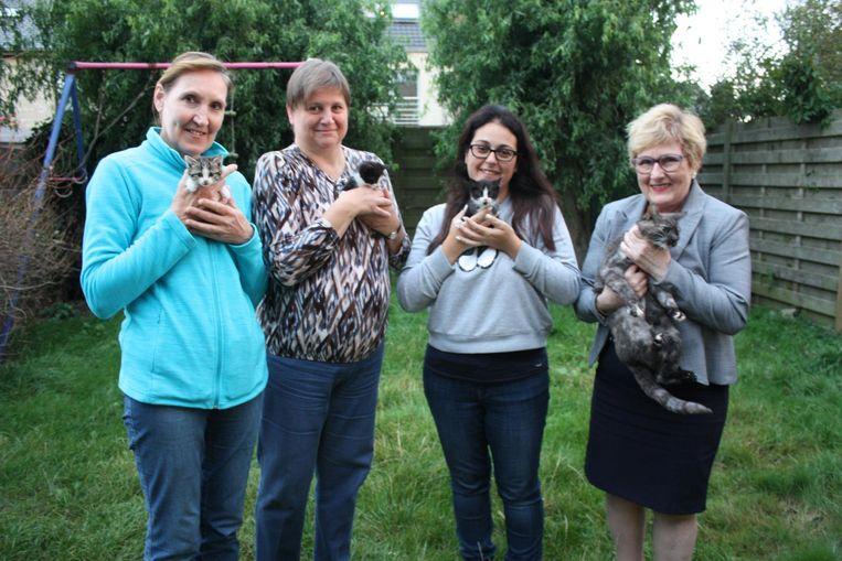Thérèse Vanneste (rechts) krijgt steun van inwoners Sabine Vanclooster, Patricia Venmans en Salima Derbala.