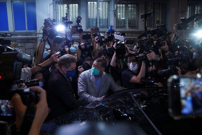 Jimmy Lai vandaag bij zijn vrijlating op borgtocht.