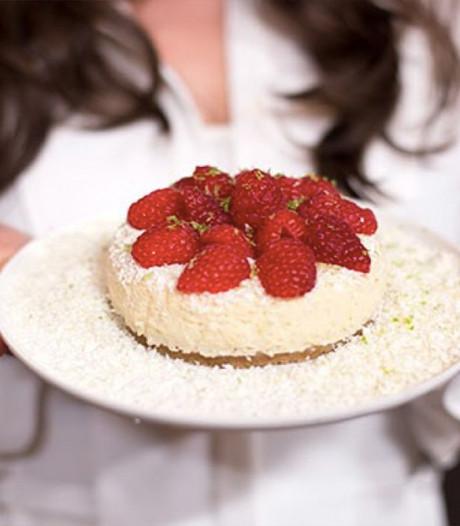 Cheesecake met witte chocolade en framboos