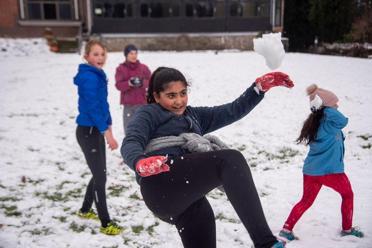 Sneeuwpret in Provinciaal domein Den Blakken in Wetteren.