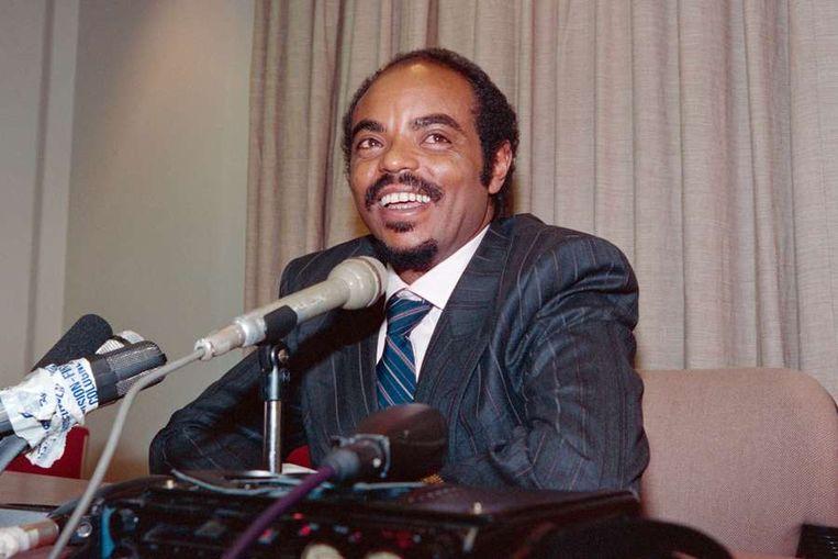 Zenawi geeft zijn eerste speech als nieuwe president van Ethiopië in 1991. Beeld afp