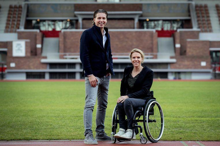 Chefs de mission Pieter van den Hoogenband en Esther Vergeer in het Olympisch Stadion in Amsterdam, waar ze de pers te woord stonden over de voorbereidingen van TeamNL op weg naar de Olympische Spelen in Tokio.  Beeld ANP