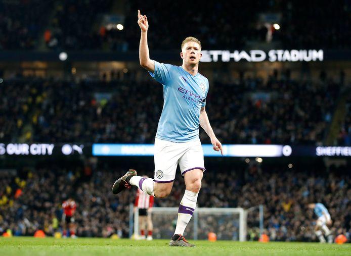 Kevin De Bruyne viert een treffer voor Manchester City.