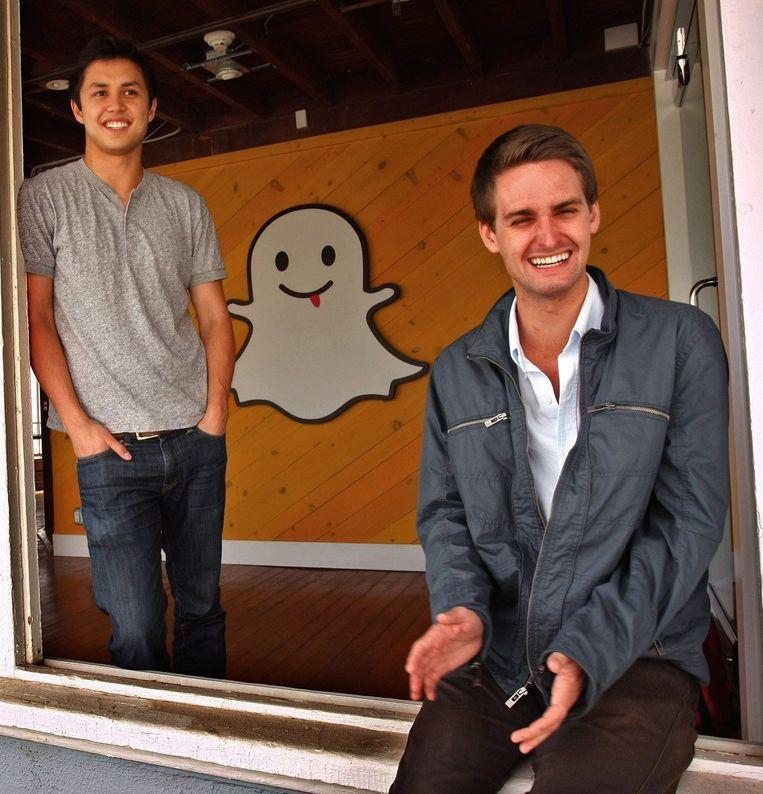Snapchat-bedenkers Bobby Murphy en Evan Spiegel.