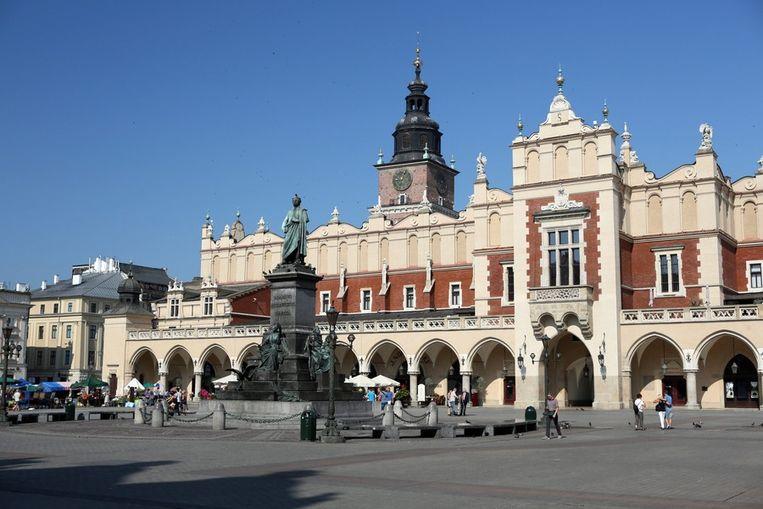 Het grote centrale plein in Krakau.  Beeld ANP