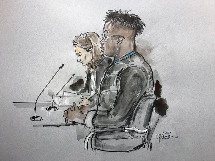 Tekening van de verdachte 21-jarige Jarish K. uit Zwolle.