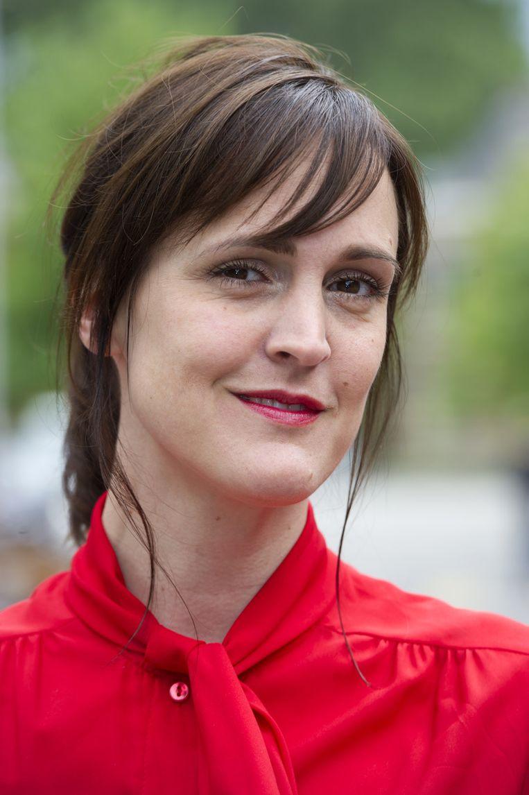 Janine Abbring tijdens de presentatie van het nieuwe VARA-seizoen in Amsterdam, in augustus vorig jaar. Beeld ANP