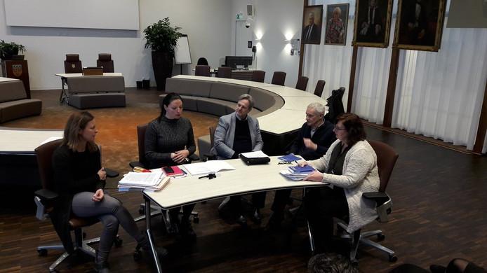 De zitting van het centraal stembureau van de gemeente Loon op Zand, met tweede van links burgemeester Hanne van Aart.