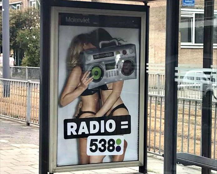 De poster van Radio 538 in Rotterdam.