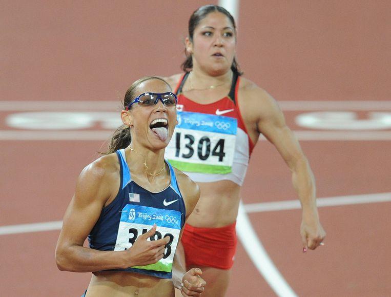 Lolo Jones tijdens haar atletiekcarrière.
