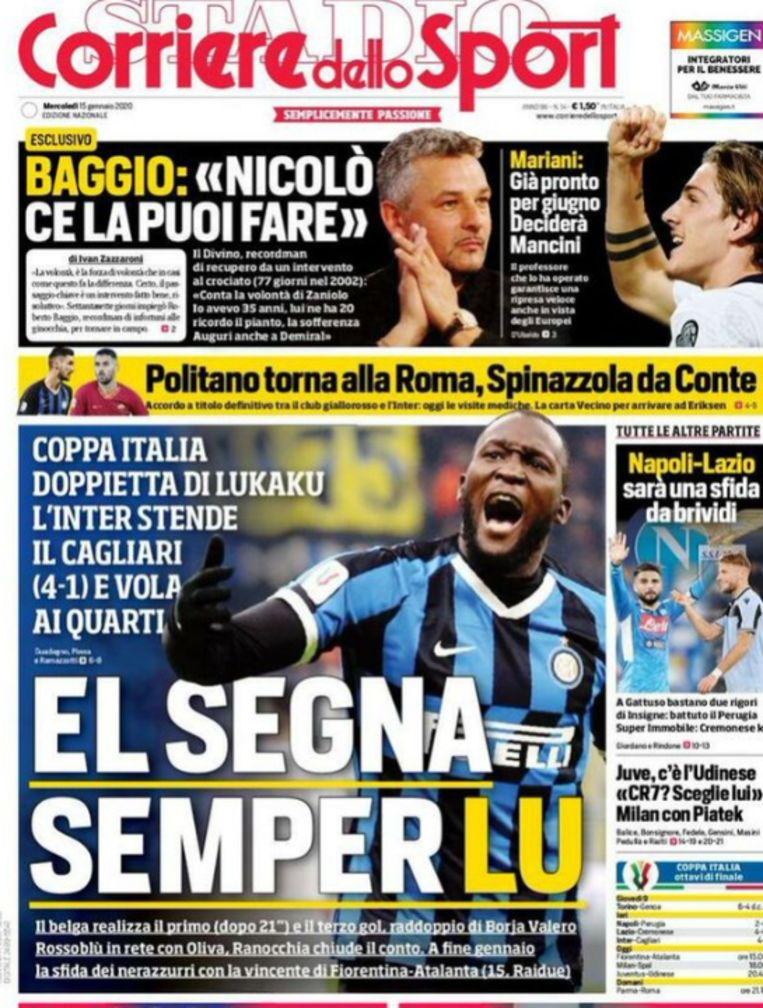 Ook de frontpagina én de site van Corriere dello Sport zetten Lukaku in de 'picture'.