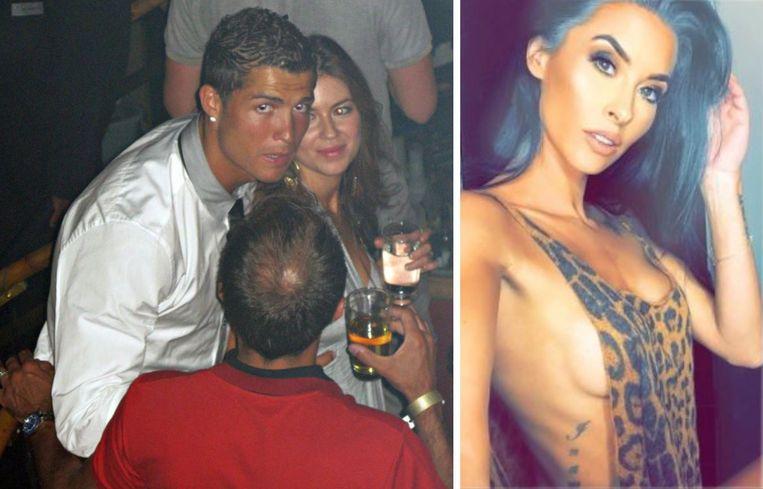 Links: Cristiano Ronaldo en Kathryn Mayorga op de foto in 2009. Rechts: Jasmine Lennard.