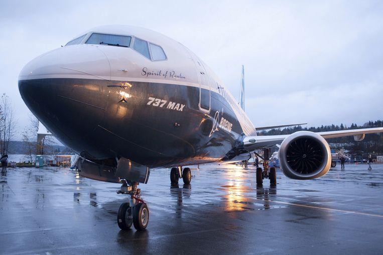 Een Boeing 737 MAX 8 in Washington.