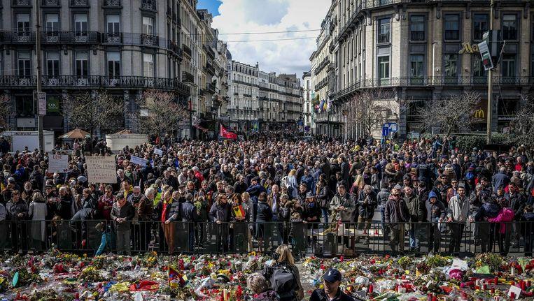 Het Beursplein eerder dit jaar, tijdens een mars tegen terreur en haat in het centrum van Brussel Beeld ANP