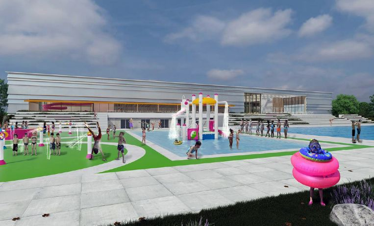Zo zal het afgewerkte openluchtzwembad eruitzien.