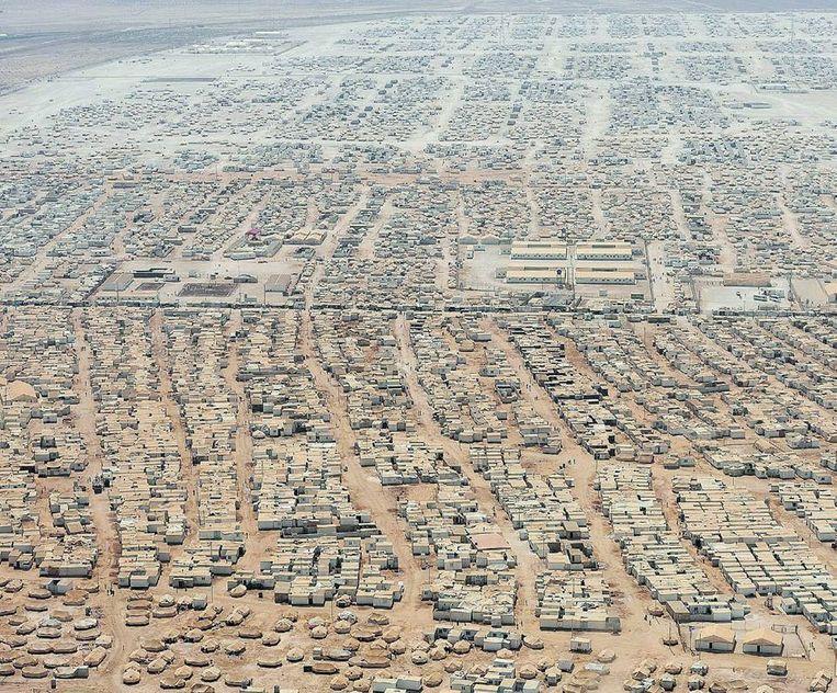 Kamp voor Syrische vluchtelingen in Jordanië.