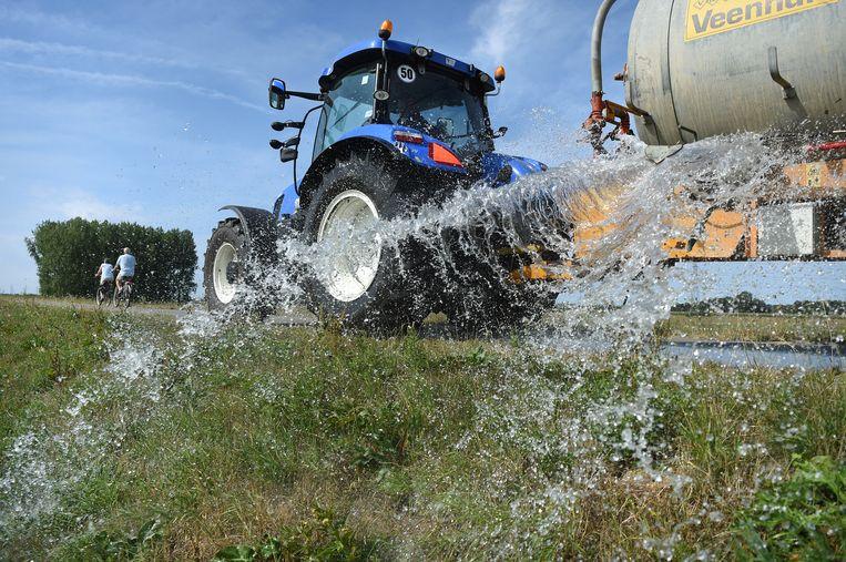 Afgelopen zomer moesten de dijken worden besproeid om de vegetatie en stevigheid te behouden. Beeld Marcel van den Bergh