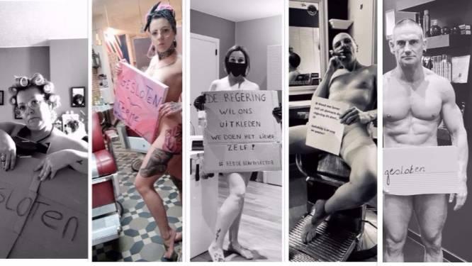 """Na kappers gaat nu ook rest van beautysector naakt uit protest tegen sluiting: """"De overheid wil ons uitkleden. Awel, dan doe ik het liever zelf"""""""