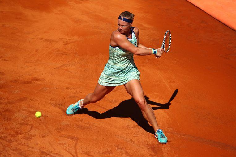 Kiki Bertens in haar gewonnen partij van donderdag tegen de Amerikaanse Amanda Anisimova. Beeld Getty Images
