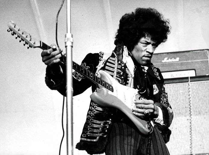 (FILES) In this file photo taken on May 24, 1967 US singer and guitarist Jimi Hendrix performs on stage at Grona Lund in Stockholm, Sweden. - Jimi Hendrix who exploded onto the 1960s music scene with his mesmeric guitar playing, died 50 years ago at the age of 27, on September 18, 1970. (Photo by - / TT NEWS AGENCY / AFP)