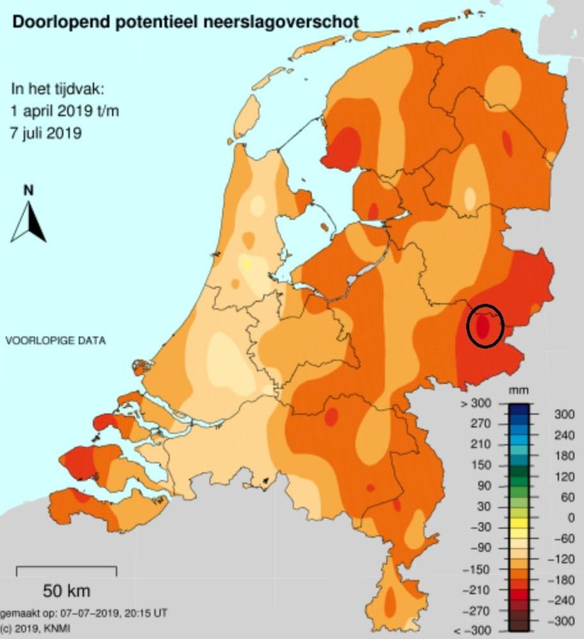 Doorlopend lotentieel neerslagoverschot in Nederland