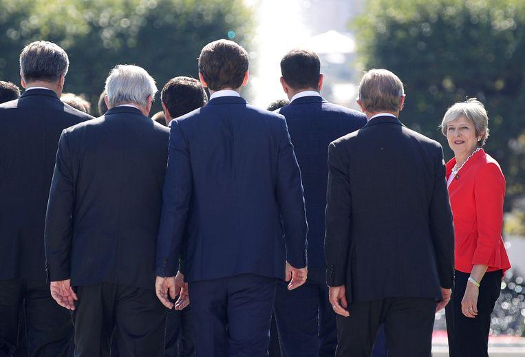 Britse premier Theresa May tijdens de informele EU-top in Salzburg, 20 september 2018. Beeld Reuters