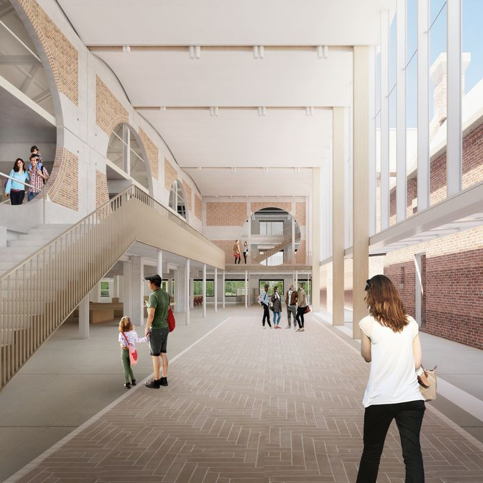 Impressie van de centrale hal van het nieuwe schoenenmuseum dat eind volgend jaar in Waalwijk de deuren opent.