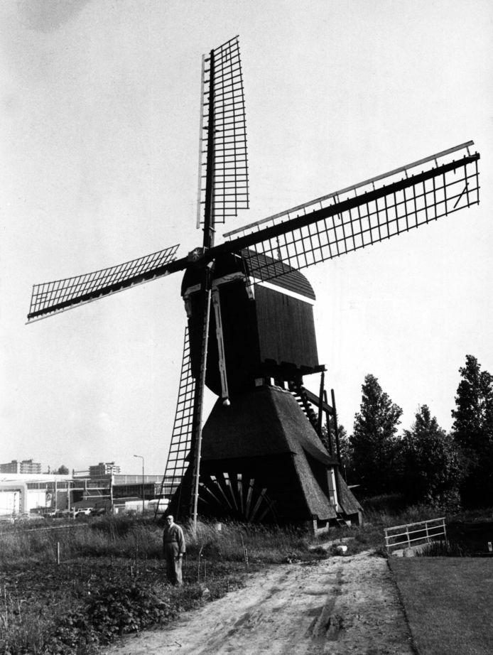 De Nieuwegeinse wipwatermolen in vol ornaat, nog op de oude plek bij de Doorslagbrug.