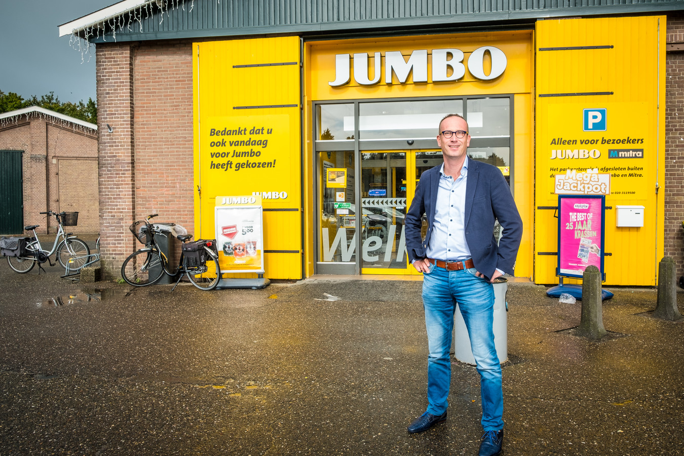 Gerrit Roeke in september 2019, kort nadat hij Jumbo Elburg had overgenomen. Over de coronabesmettingen onder zijn personeel zegt hij nu: ,,We hebben geen paniek, niemand is doodziek.''