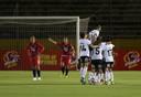 Speelsters van Colo Colo na een goal tegen Cerro Porteno.