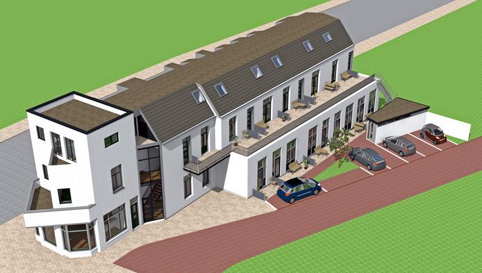 Het voormalige hotel De Kroon aan de Deldenerstraat wordt omgebouwd tot appartementencomplex. De kop van het gebouw is bestemd voor daghoreca.