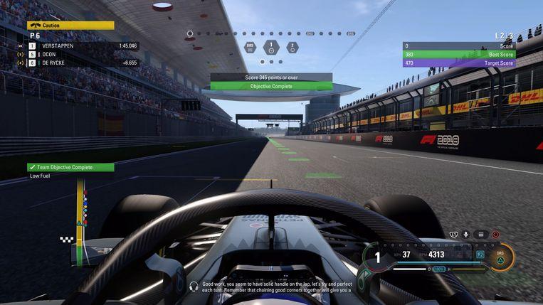 Screenshot uit F1 2018 - Eén van de proeven in de oefensessies.