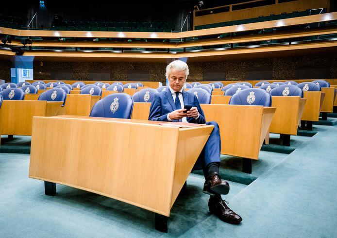 Geert Wilders (PVV) in de Tweede Kamer tijdens het wekelijkse vragenuur.