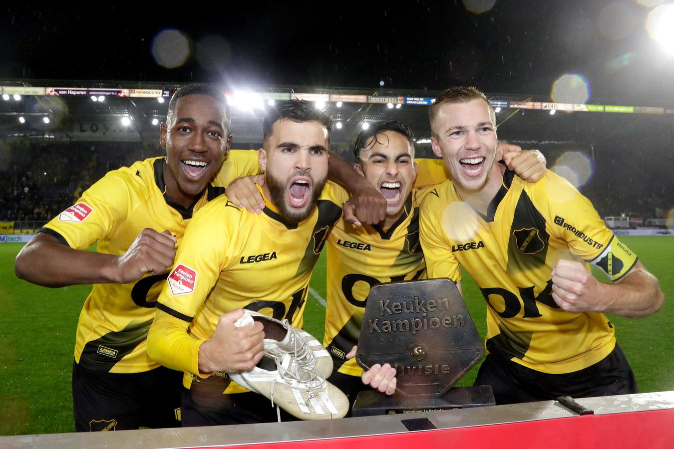 Jethro Mashart, Mounir El Allouchi en Arno Verschueren maakten vorig jaar de degradatie mee, maar hebben zich herpakt en kunnen nu feest vieren.