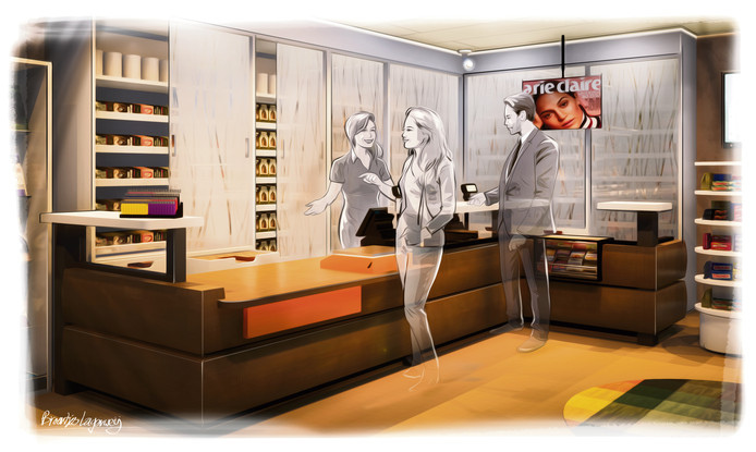 Lukas Lagerweij is interieurarchitect voor onder meer winkels. Hij werkt bij bedrijf Broertjes Lagerweij in Deventer. Op verzoek van de Stentor ontwierp hij dé sigarenzaak van de toekomst. ,,Ik nam een kijkje bij mevrouw Jaspers. En deze winkel is eigenlijk ondenkbaar zonder het zichtbare rookwaar. Ik heb het warme gevoel dat de pakjes geven, willen terugbrengen door donkere kleuren te accentueren. De toonbank is van hout en de schuiframen hebben een rood-achtige verlichting. Zo heeft het toch die romantische sfeer uit vervlogen tijd.''
