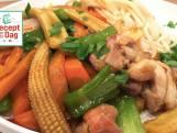 Kipwokschotel met udon noodles