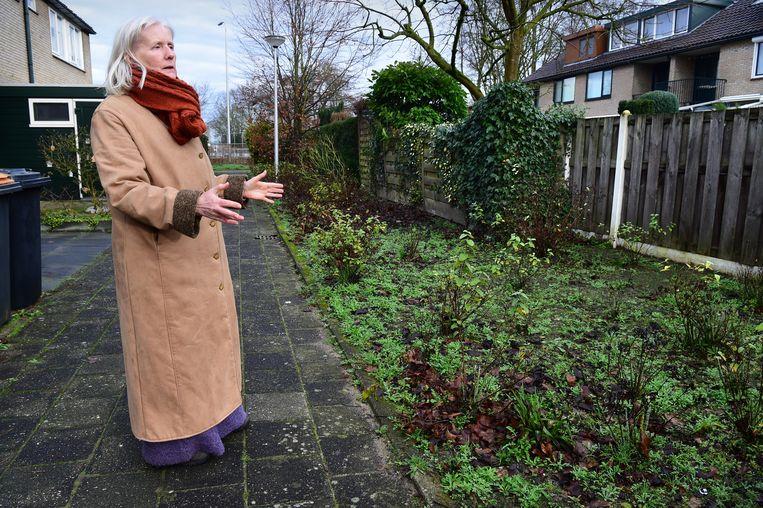 Ada Branderhorst wijst op het stukje groen dat ze naar eigen zeggen dertig jaar terug al voor 150 gulden heeft gekocht. Beeld Marcel van den Bergh