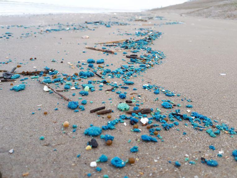 De blauwe smurrie ligt in grote hoeveelheden verspreid over de stranden in de westkust.