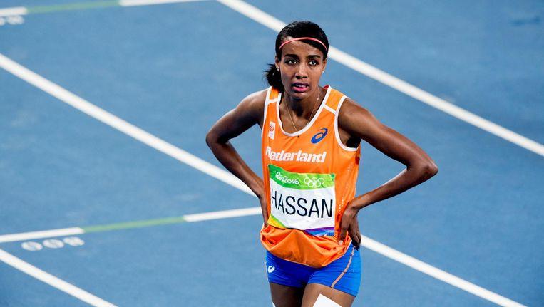 Sifan Hassan tijdens de finale 1500 meter op de Olympische Spelen van Rio. Beeld anp