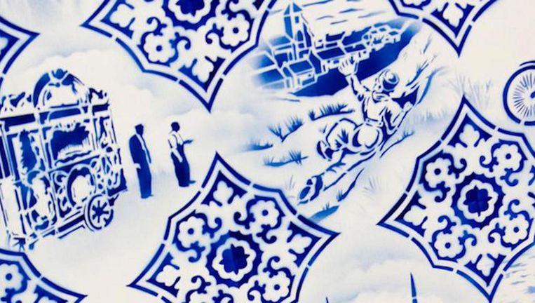 De winnaar ontvangt de Blauwe Tegel, een Delftsblauw tegeltje met de eigen slogan. Beeld anp