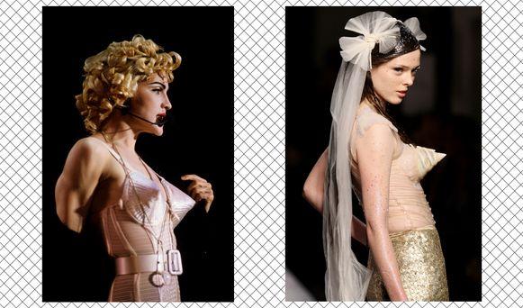 Madonna en een model in het iconische korset met puntbeha.