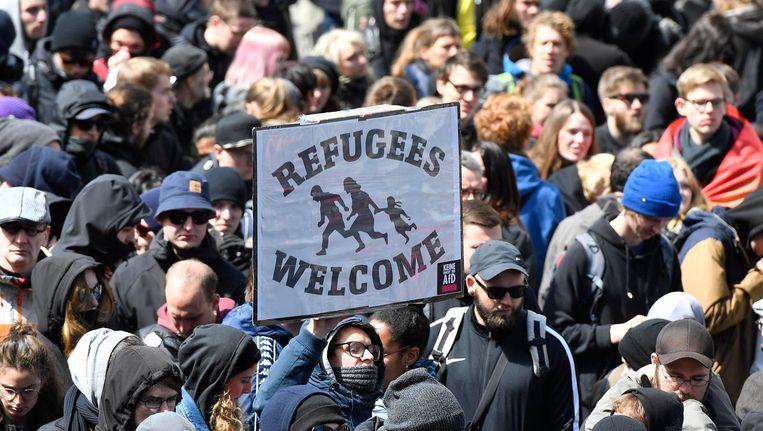 Demonstranten in Keulen op 22 april Beeld ap