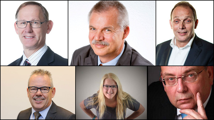 De lijsttrekkers in Oude IJsselstreek, vanaf linksboven met de klok mee: Hayo Canter Cremers (D66), Peter van de Wardt (CDA), Ton Menke (PvdA), Richard de Lange (VVD), Suzan Tuit (SP) en Bert Kuster (Lokaal Belang).