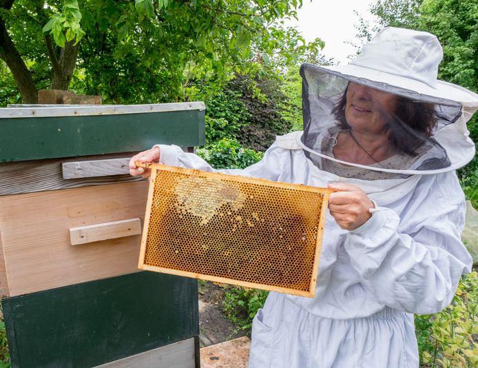 De Ruiter hoopt over een paar jaar met haar nieuwe bijenras zonder imkerkleding te kunnen werken.