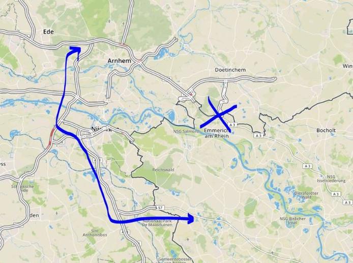 Omleiding via Nijmegen en Boxmeer