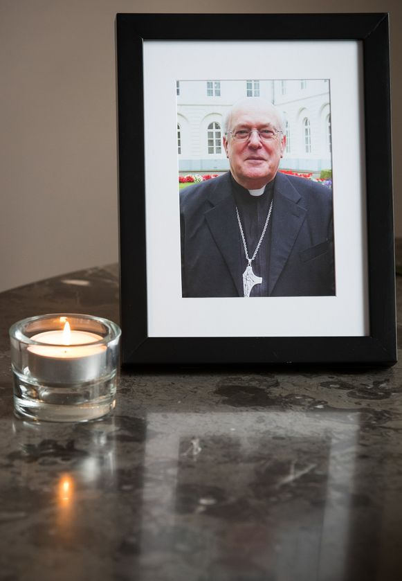 Illustration picture shows a portrait of Cardinal Godfried Danneels as people can come to pay a tribute to Cardinal Danneels who died last Thursday at the age of 85, in Mechelen, Monday 18 March 2019. BELGA PHOTO BENOIT DOPPAGNE