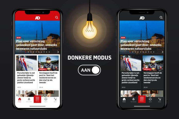 Dark mode in de AD app.