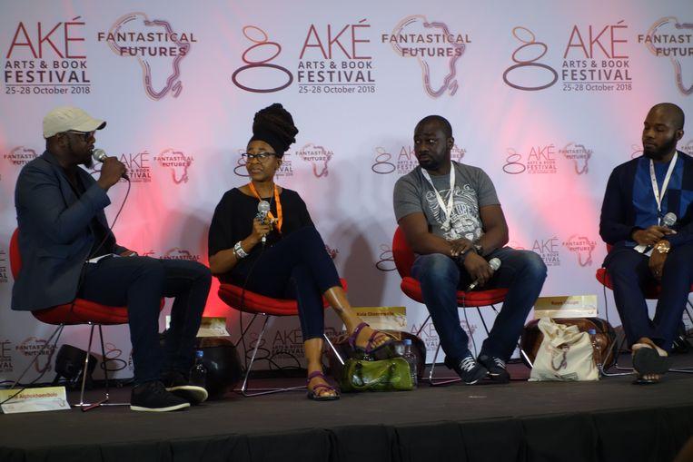 Het panel over The Black Panther Phenomeon. Links naar rechts: Oris Aigbokhaevbolo, Nnedi Okorafor, Roye Okupe en Kolawole Olanrewaju. Beeld vk